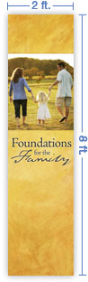 2x8 Vertical Church Banner of Family Walk