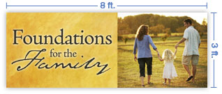 8x3 Horizontal Church Banner of Family Walk