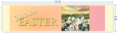 12x3 Horizontal Church Banner of Lilies of the Field