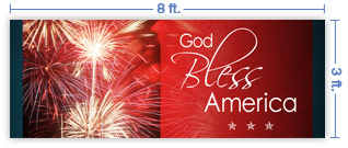 8x3 Horizontal Church Banner of Fireworks