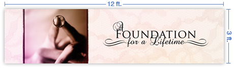 12x3 Horizontal Church Banner of Foundation