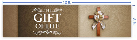 12x3 Horizontal Church Banner of Gift of Life