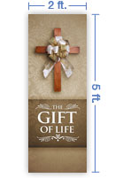 2x5 Vertical Church Banner of Gift of Life