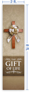2x8 Vertical Church Banner of Gift of Life