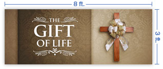 8x3 Horizontal Church Banner of Gift of Life