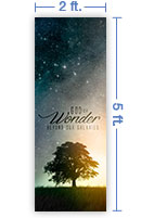 2x5 Vertical Church Banner of God of Wonder