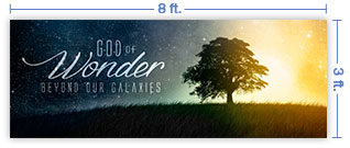 8x3 Horizontal Church Banner of God of Wonder