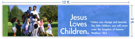 12x3 Horizontal Church Banner of God's Children