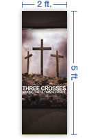 2x5 Vertical Church Banner of Golgotha