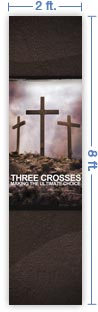 2x8 Vertical Church Banner of Golgotha