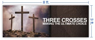 8x3 Horizontal Church Banner of Golgotha