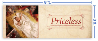 8x3 Horizontal Church Banner of Greatest Gift