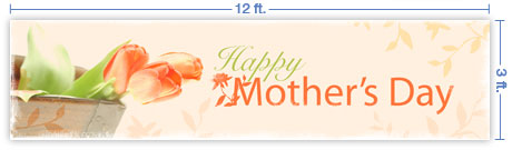 12x3 Horizontal Church Banner of Happy Mother's Day