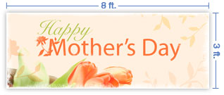 8x3 Horizontal Church Banner of Happy Mother's Day