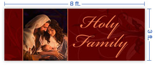 8x3 Horizontal Church Banner of Holy Family