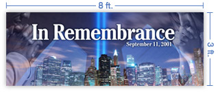 8x3 Horizontal Church Banner of In Remembrance