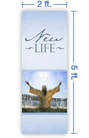 2x5 Vertical Church Banner of Baptized in the Spirit