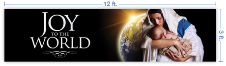 12x3 Horizontal Church Banner of Joy of the World