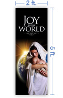 2x5 Vertical Church Banner of Joy of the World