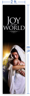 2x8 Vertical Church Banner of Joy of the World