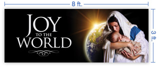 8x3 Horizontal Church Banner of Joy of the World