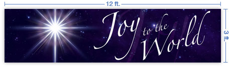 12x3 Horizontal Church Banner of Joy To the World