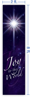 2x8 Vertical Church Banner of Joy To the World