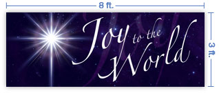 8x3 Horizontal Church Banner of Joy To the World