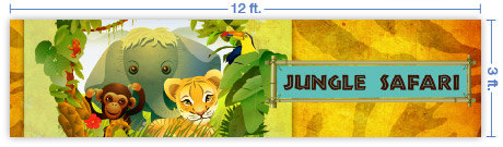 12x3 Horizontal Church Banner of Jungle Safari
