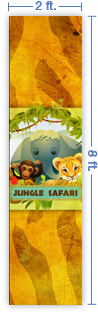 2x8 Vertical Church Banner of Jungle Safari