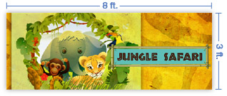 8x3 Horizontal Church Banner of Jungle Safari