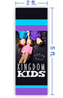 2x5 Vertical Church Banner of Kingdom Kids
