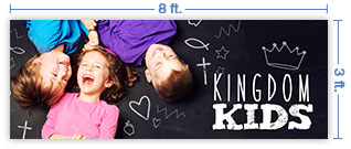 8x3 Horizontal Church Banner of Kingdom Kids