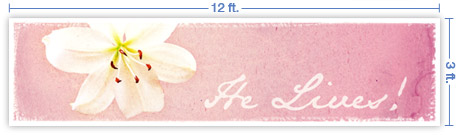 12x3 Horizontal Church Banner of Lily