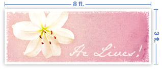 8x3 Horizontal Church Banner of Lily