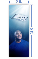 2x5 Vertical Church Banner of Living With Hope B