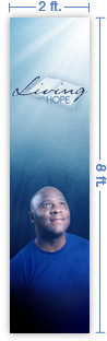 2x8 Vertical Church Banner of Living With Hope B