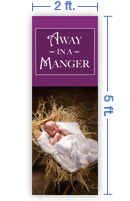 2x5 Vertical Church Banner of Manger