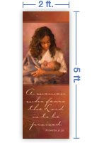 2x5 Vertical Church Banner of Mother & Child