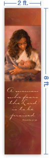 2x8 Vertical Church Banner of Mother & Child