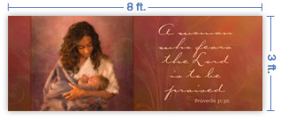 8x3 Horizontal Church Banner of Mother & Child