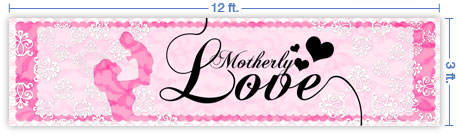 12x3 Horizontal Church Banner of Motherly Love