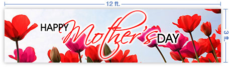 12x3 Horizontal Church Banner of Mothers Day Tulips