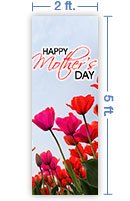 2x5 Vertical Church Banner of Mothers Day Tulips