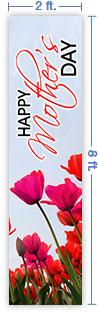 2x8 Vertical Church Banner of Mothers Day Tulips