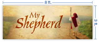 8x3 Horizontal Church Banner of My Shepherd
