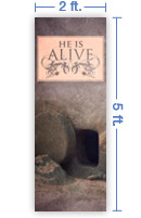 2x5 Vertical Church Banner of Open Tomb