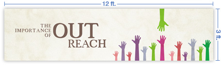 12x3 Horizontal Church Banner of OutReach