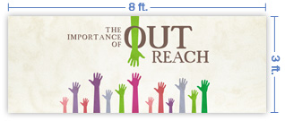 8x3 Horizontal Church Banner of OutReach