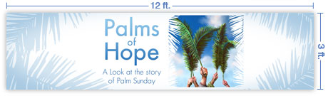 12x3 Horizontal Church Banner of Palm Branches